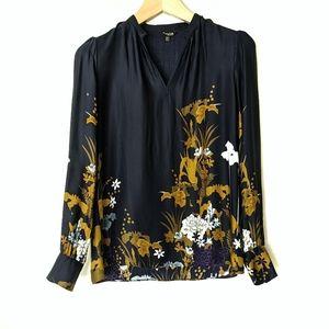 Massimo Dutti Satin Floral Print Long Sleeve Blous